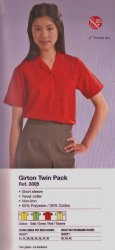 Banner Girls Short Sleeve Rever Collar Blouses(Twin Pack)