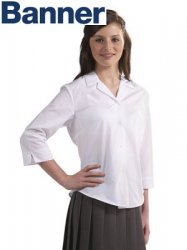 Banner Rever Collar 3/4 Sleeve Fitted Blouse